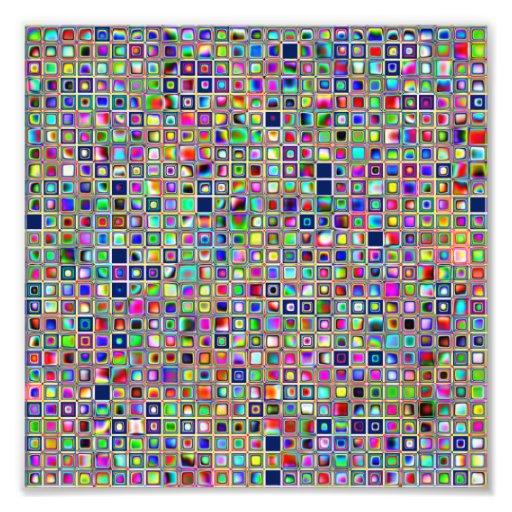 Festive Rainbow Textured Mosaic Tiles Pattern Art Photo