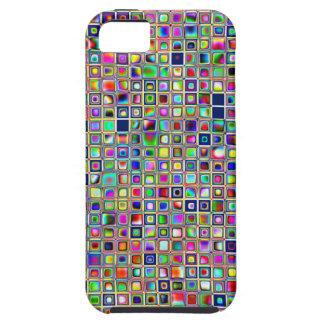 Festive Rainbow Textured Mosaic Tiles Pattern Tough iPhone 5 Case