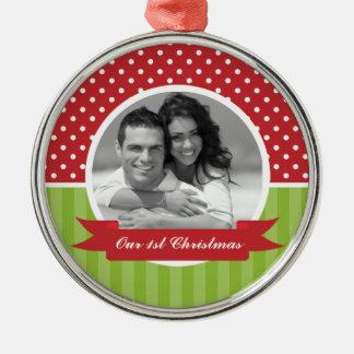 Festive Red and Green Photo Christmas Christmas Ornament