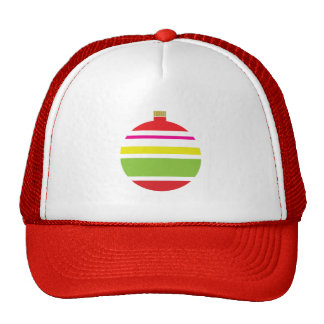 Festive Red and Green Striped Ornament Cap