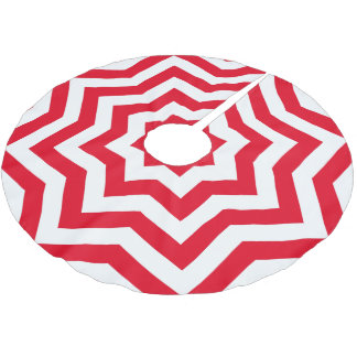 Festive Red and White Chevron Brushed Polyester Tree Skirt