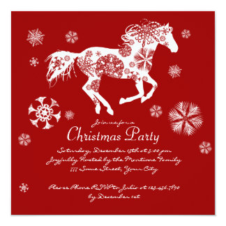 Festive Red and White Horse Christmas Party 13 Cm X 13 Cm Square Invitation Card