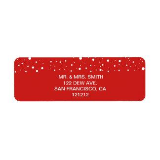Festive Red and White Snow Return Address