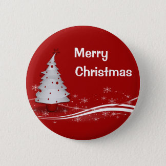 Festive Red Background & White Christmas Tree 6 Cm Round Badge