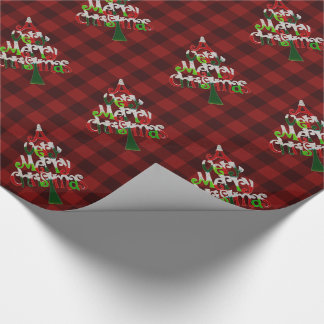 Festive Red Buffalo Plaid Merry Christmas Tree Wrapping Paper