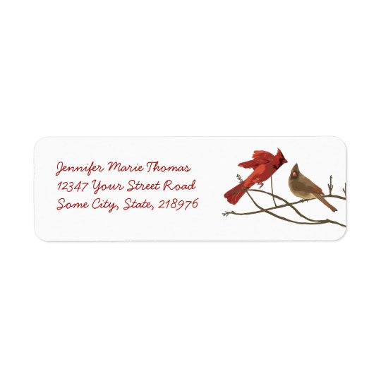 Festive Red Cardinals Return Address Return Address Label