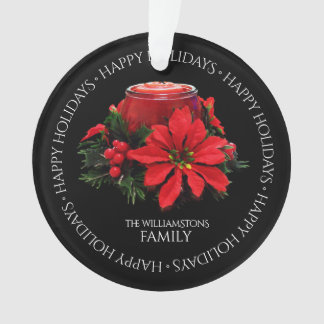 Festive Red Christmas Candle, Holly and Poinsettia Ornament