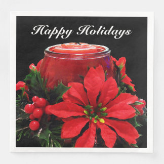 Festive Red Christmas Candle, Holly and Poinsettia Paper Napkin