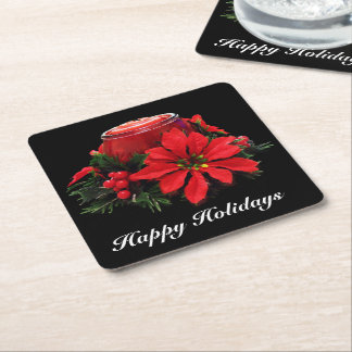 Festive Red Christmas Candle, Holly and Poinsettia Square Paper Coaster