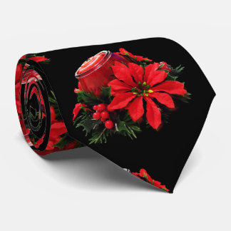 Festive Red Christmas Candle, Holly and Poinsettia Tie