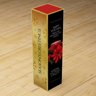 Festive Red Christmas Candles, Holly, Snowflakes Wine Box