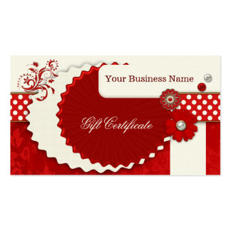 Festive Red Christmas Gift Certificate Template Pack Of Standard Business Cards