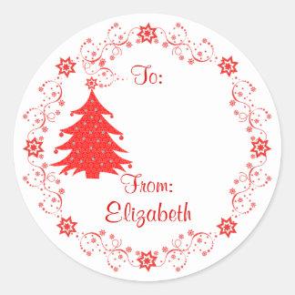Festive Red Christmas Tree Custom Gift Tag Round Sticker