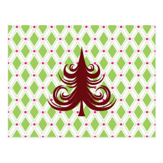 Festive Red Christmas Tree on Holiday Pattern Postcard