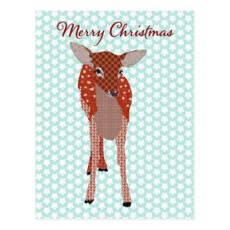 Festive Red Fawn Blue Star Postcard Christmas