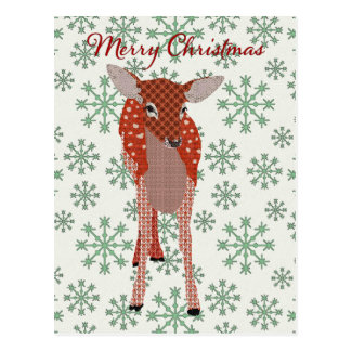Festive Red Fawn Green Snowflake  Postcard Christm