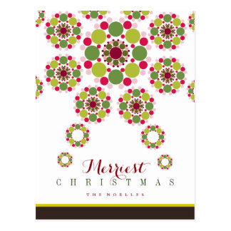 Festive Red Green Christmas Star Holiday Postcard