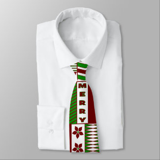 Festive Red & Green Geometric Merry Christmas Tie