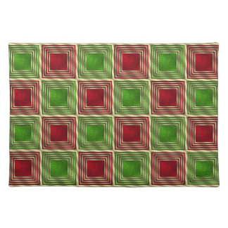 Festive Red, Green, Gold Retro Squares Pattern Place Mats