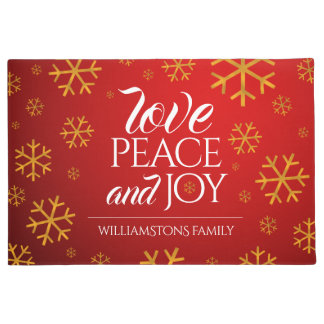 Festive Red Love, Peace, and Joy with Snowflakes Doormat