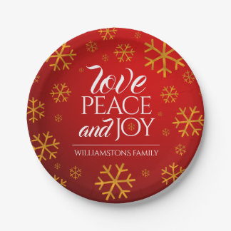 Festive Red Love, Peace, and Joy with Snowflakes Paper Plate