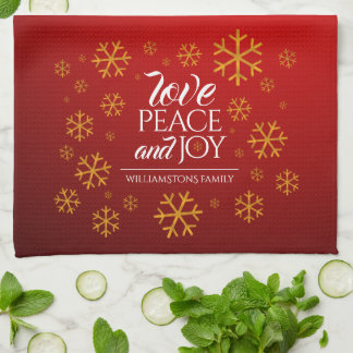 Festive Red Love, Peace, and Joy with Snowflakes Tea Towel