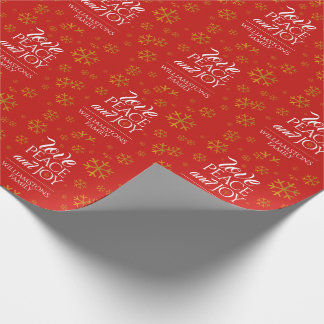 Festive Red Love, Peace, and Joy with Snowflakes Wrapping Paper