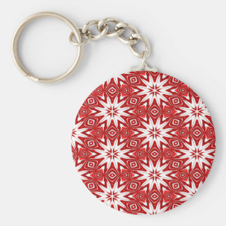 festive red ornament pattern basic round button key ring