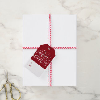Festive Red Pine Needle Gift Tag