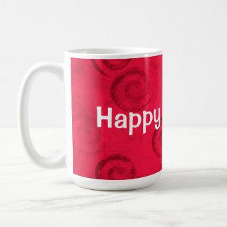 """Festive Red Spirals """"Happy Holidays"""" Basic White Mug"""