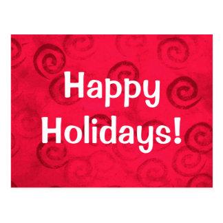 "Festive Red Spirals ""Happy Holidays"" Postcard"