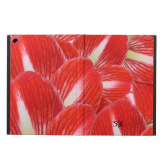 Festive Red Winter Amaryllis Floral Monogram iPad Air Cover
