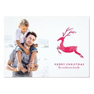 Festive Reindeer christmas photo card