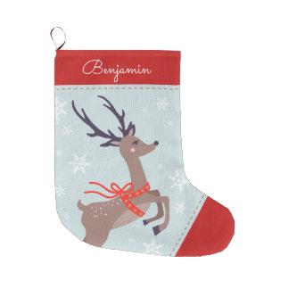 Festive Reindeer Large Christmas Stocking