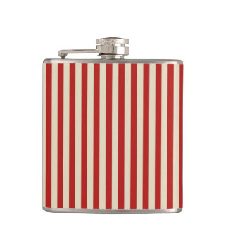 Festive Retro Vintage Vertical PopCorn Stripes Hip Flask