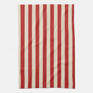 Festive Retro Vintage Vertical PopCorn Stripes Tea Towel