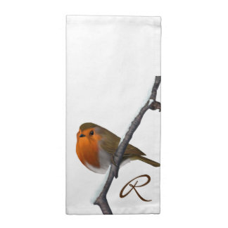Festive Robin Monogram Cloth Napkins