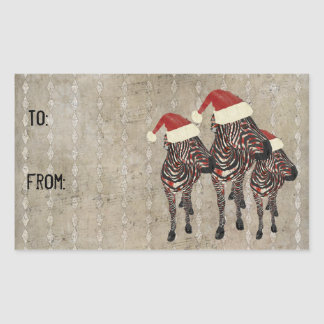 Festive Rose Zebras Gift Sticker
