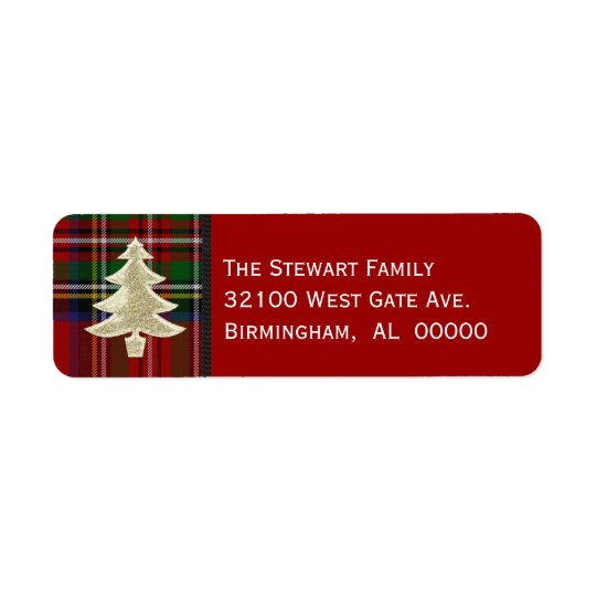 Festive Royal Stewart Plaid Christmas Labels
