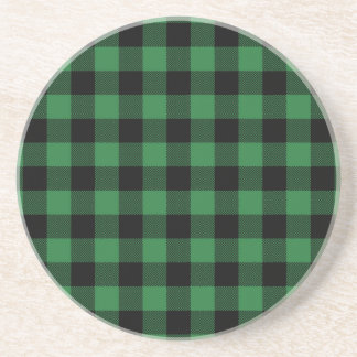 Festive Rustic Green Plaid Pattern Holiday Coaster