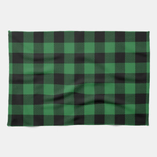 Festive Rustic Green Plaid Pattern Holiday Tea Towel