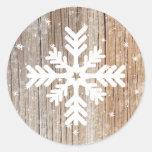 Festive Rustic Snowflake Merry Winter Sticker