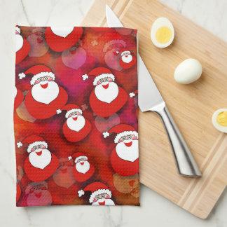 Festive Santa Claus Pattern Tea Towel
