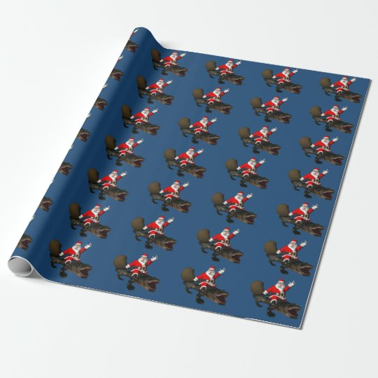 Festive Santa Claus Riding An Alligator Wrapping Paper