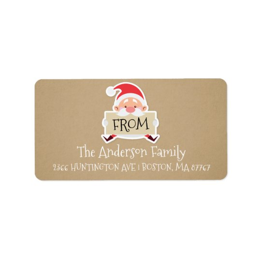 Festive Santa Kraft Christmas Address Label