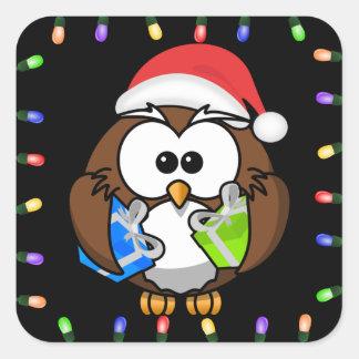festive santa owl sticker
