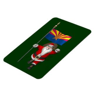 Festive Santa With Ensign Of Arizona Rectangular Photo Magnet