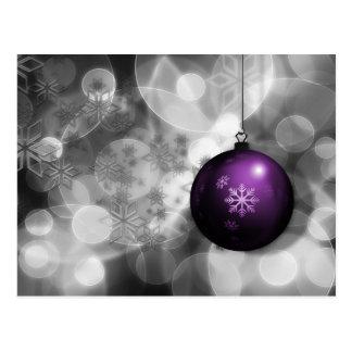 festive silver purple ornament Holiday cards Postcard