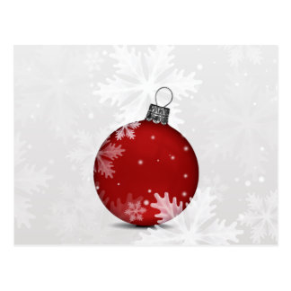 festive silver red ornament Holiday cards Postcard