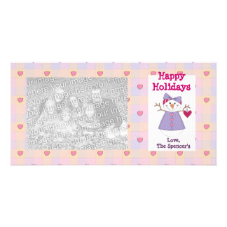 Festive Snow Girl Holiday Photo Cards